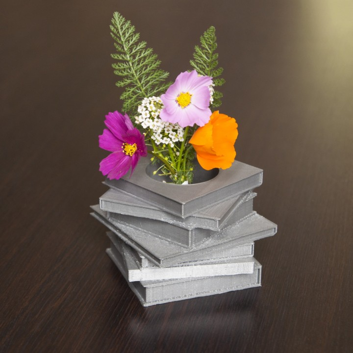 Books stack vase