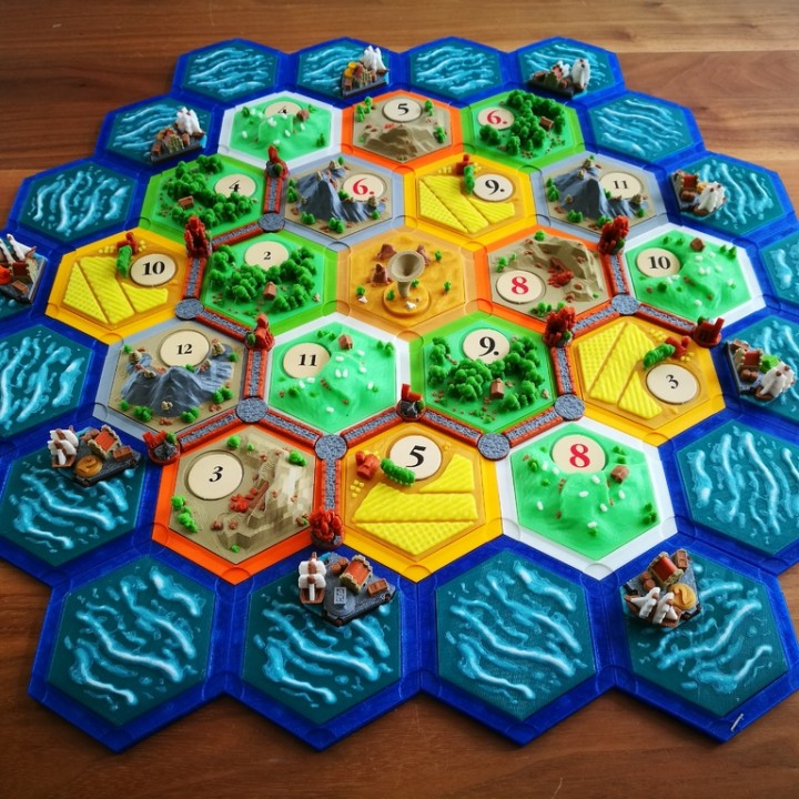 image about Settlers of Catan Printable named 3D Printable catan-structure boardgame 2.0 (magnetic