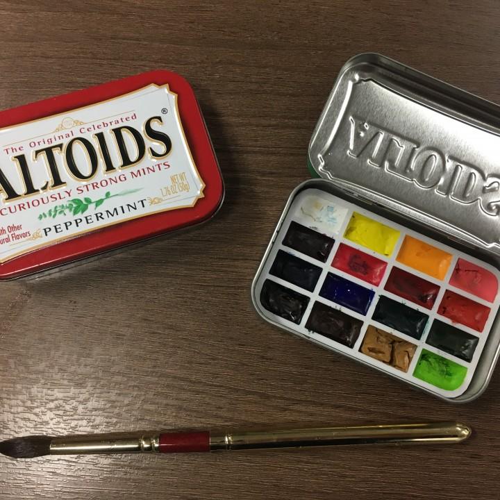 Plein Air Watercolor Palette using Altoid Tin