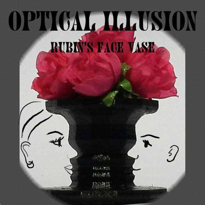 3d Printable Optical Illusion Vase Rubins Vase Negative Space