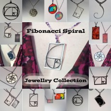 FIBONACCI SPIRAL COLLECTION of jewellery pendants for necklaces, earrings, bag tags and bracelets. The Golden Ratio and the Fibonacci Sequence.
