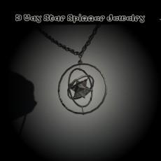 Triple spin star pendant. Fidget spinner jewellery.