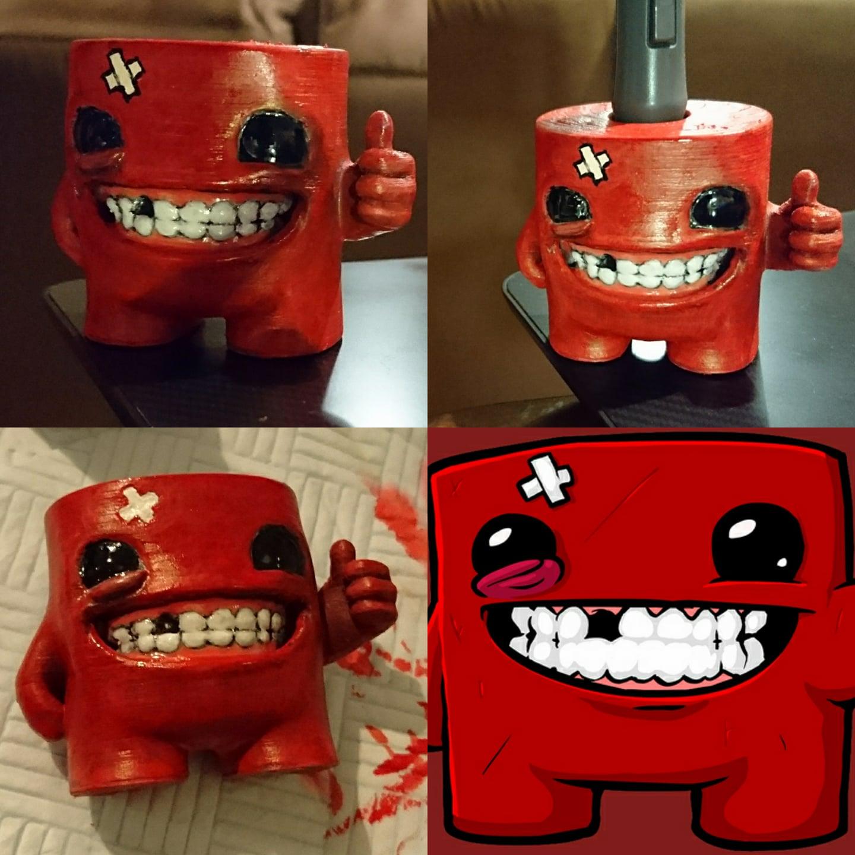 Excellent 3D Printable Super Meat Boy Wacom Pen Stand by Robin Brockötter ME18