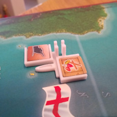 "Picture of print of Ports/Harbours for the Boardgame ""Merchants & Marauders"" or in german ""Korsaren der Karibik"""