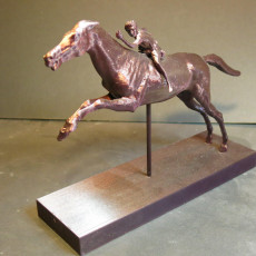 Picture of print of Bronze statue of a horse and young jockey