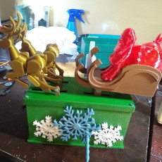 Picture of print of Santa Claus Reindeer Automata