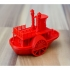Old paddle-wheel steamboat with display stand image