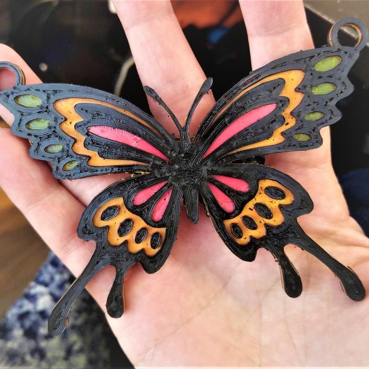papillon multi-couleur pendentif