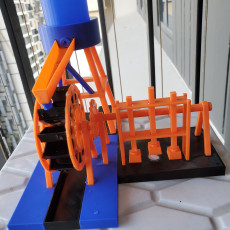 Picture of print of Water wheel with drink can water supply tank