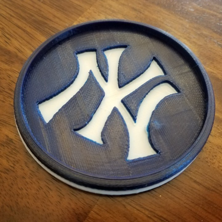 photograph relating to Yankees Printable Schedule identify 3D Printable NY Yankees Coaster via Jim Dewhurst