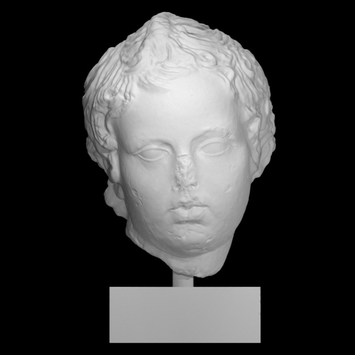3d Printable Head Of Eros Drawing His Bow By Scan The World