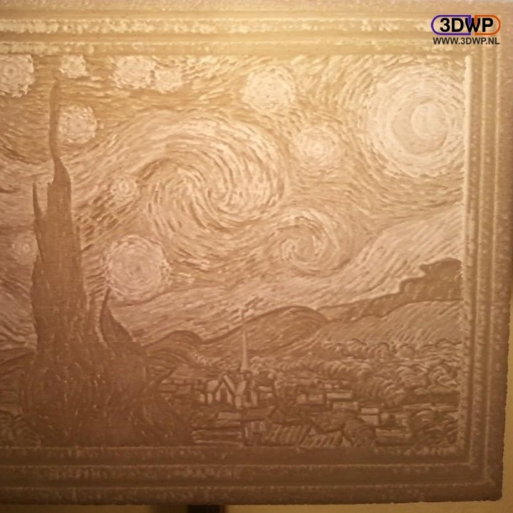 photograph relating to Starry Night Printable known as 3D Printable Vincent van Gogh - Starry Evening Lithophane via 3DWP