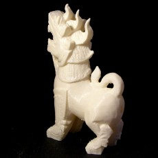 Picture of print of Fu Dog Statue 3D Scan (Chinese Guardian Lion/Thai Lion Singha Wood Carving Sculpture)