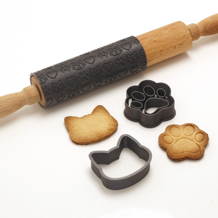 Neko Baking Set - Cat Cookie Cutter / Rolling Pin