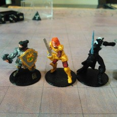 Lady Adventurers! Human Female Fighter, Female Dwarf Cleric, Female Drow Warlock