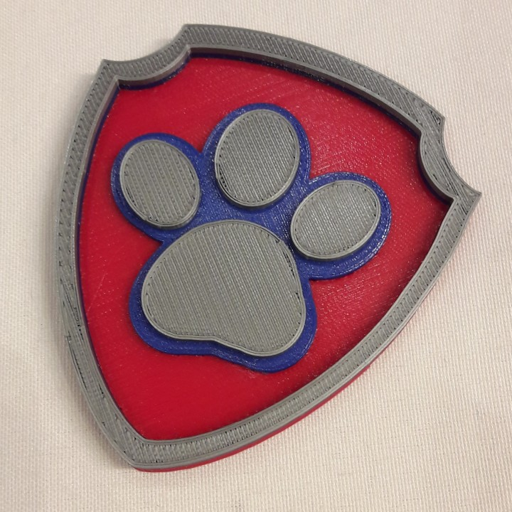 graphic about Free Printable Paw Patrol Badges named 3D Printable Paw Patrol badge multi coloration via Sascha Böse