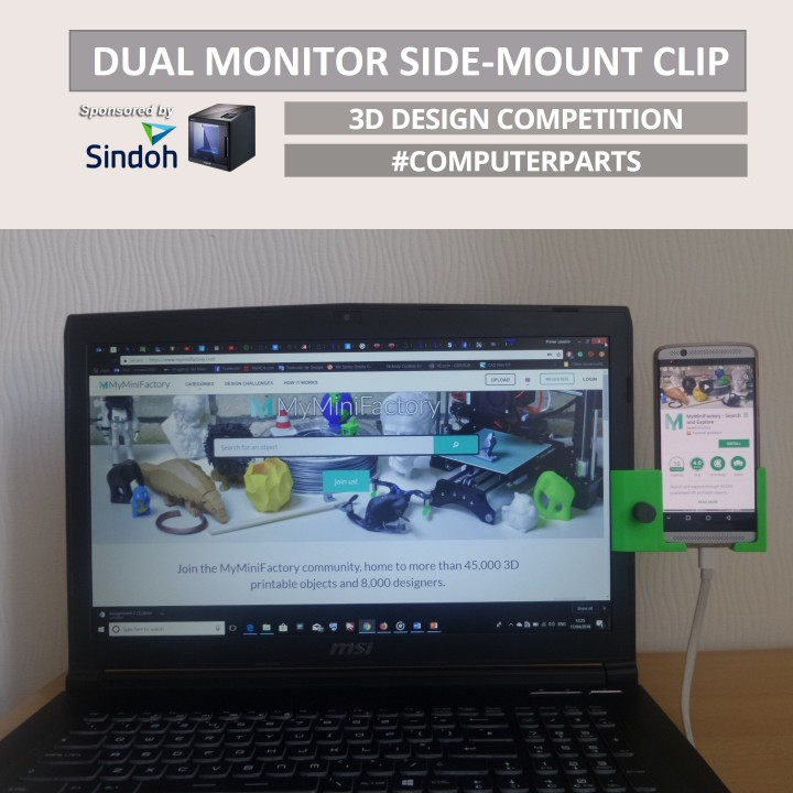 ADJUSTABLE DUAL MONITOR SIDE-MOUNT CLIP