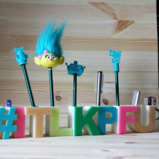 "Picture of print of ""hashtag itlkpfu"" Stand for pens"
