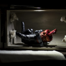 Picture of print of Severed Deadpool hand F***you