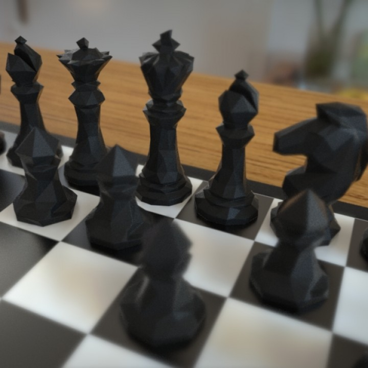 photograph relating to Printable Chess Pieces identified as Faceted Chess Established