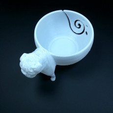 Picture of print of 3D printed pug yarn bowl custom made