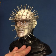 The head of Pinhead from hellraiser