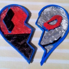 Harley and Joker heart for keychain or pendant two parts v2