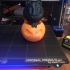 Halloween Boo Cat & Pumpkin print image