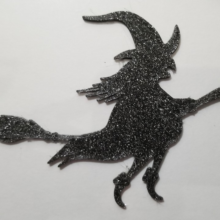 photo regarding Witch Silhouette Printable known as 3D Printable Halloween Witch Silhouette via Alien3D