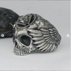 Ring skull Odin Viking with ravens and valknut for 3d printing