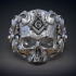 Classical Masonic ring with a skull 3d model for 3d printing image