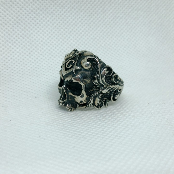 Classical Masonic ring with a skull 3d model for 3d printing