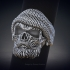 Skull ring with beard 3d model for 3d printing image