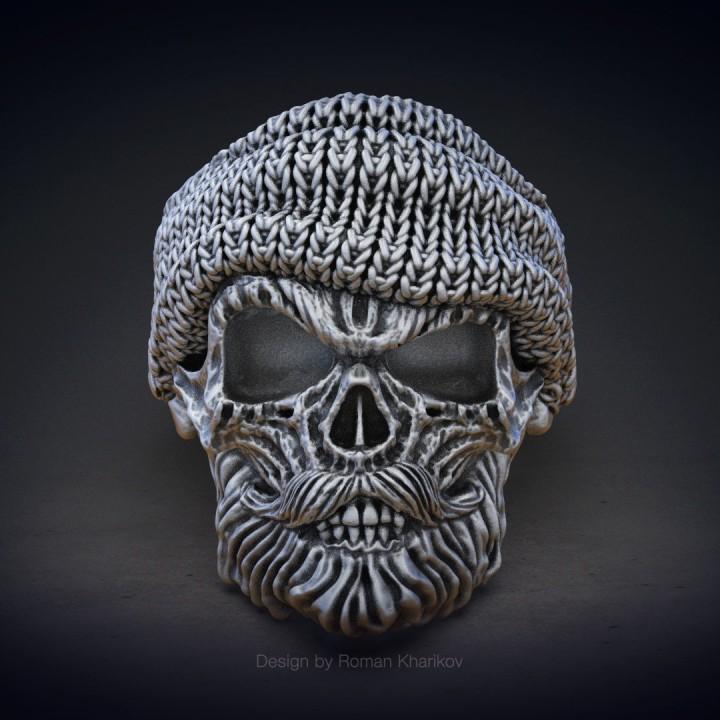 3D Printable Skull Ring With Beard 3d Model For 3d