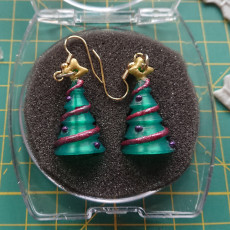 Picture of print of Christmas Tree earrings charm multi colour or one colour