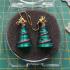 Christmas Tree earrings charm multi colour or one colour print image