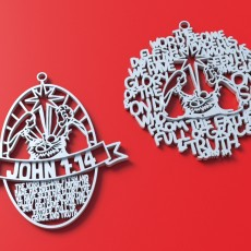 Set of Christmas tree ornaments: John 1:14