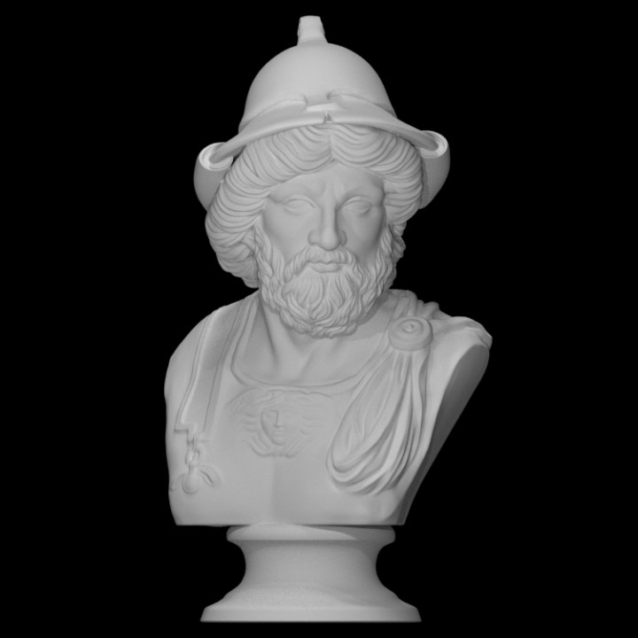 Monumental bust of a warrior