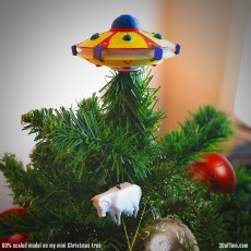 Picture of print of UFO Christmas Tree Topper and Cow Ornament Set
