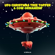 UFO Christmas Tree Topper and Cow Ornament Set