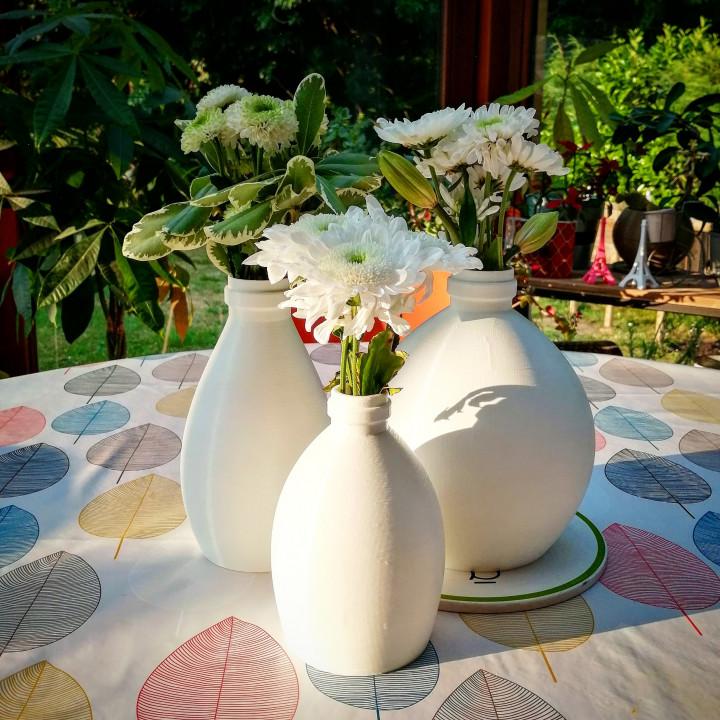 """Three Vases """"milk bottle"""" two"""
