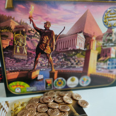 """Picture of print of Coins for board game """"7 Wonders"""""""