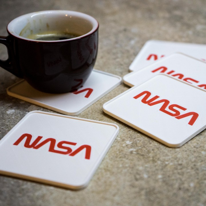 NASA coasters for dual extrusion, multi material or single nozzle printers
