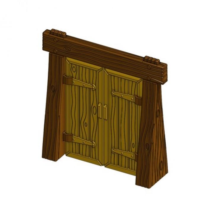 Wood Dungeon Door w/ Straight Header - Working