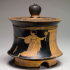 Cylindrical box (pyxis) with a domestic scene image