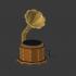Retro gramophone with Amazon Echo Dot, speaker and rotating vinyl image
