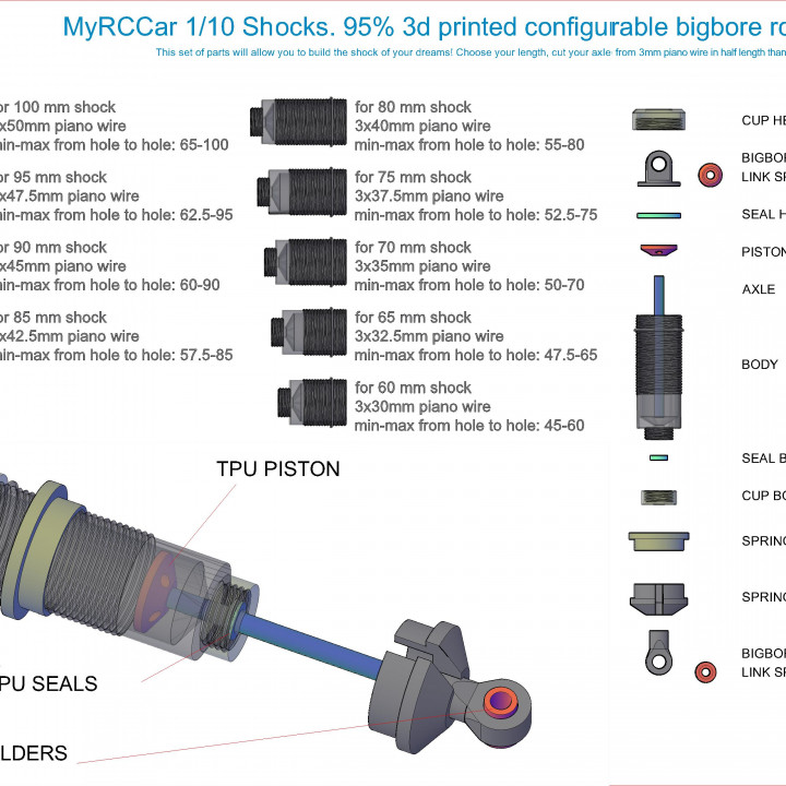 MyRCCar 1/10 Shocks, Mostly 3D printable RC Car Shocks, from 55 to 110mm, including springs