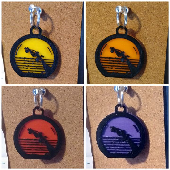 3D Printable Octane Sunset Keychain - Rocket League by