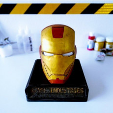 Weathered Ironman bust with base