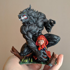 Picture of print of Little Red Riding Hood and her new best friend!